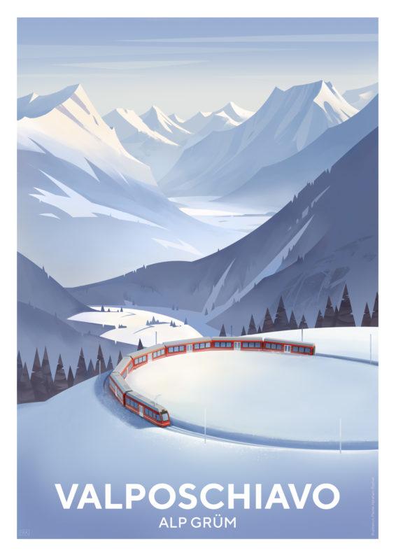 Valposchiavo Tourismusplakat Alp Gruem Winter