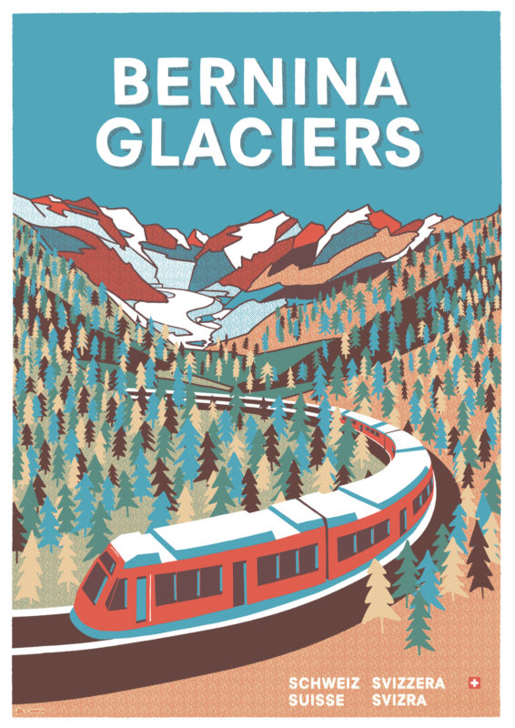 Bernina Glaciers Tourismusplakat Transhelvetica
