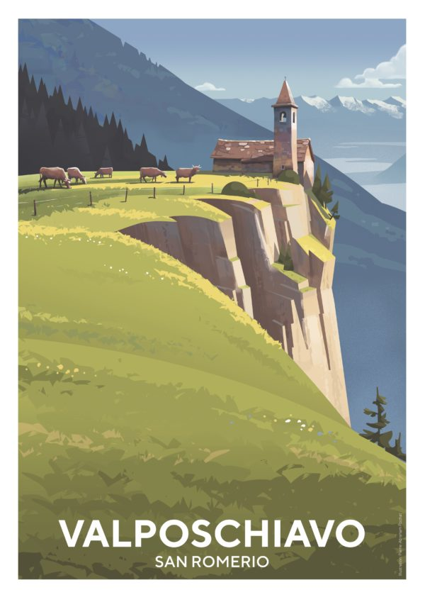 Valposchiavo Tourismusplakat San Romerio Sommer